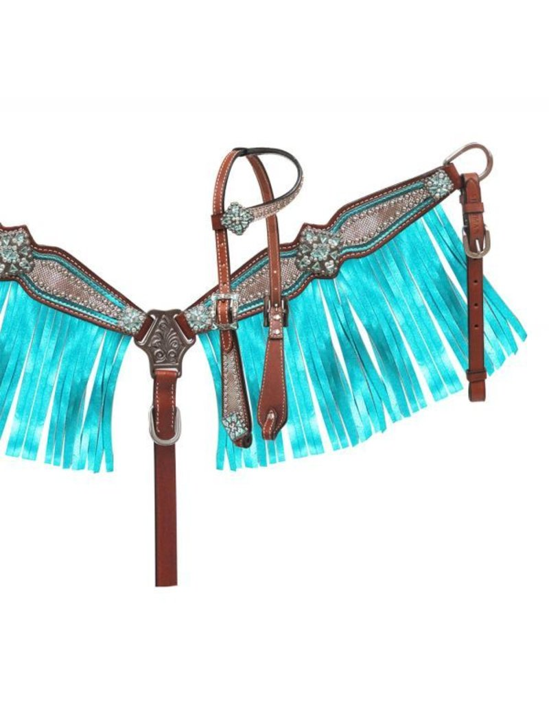 Showman ® Showman ® Pony Size Headstall and breast collar set with holographic snake print and metallic color fringe.