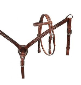 Showman ® Showman® Mini Size Medium leather headstall and breast collar set with silver studs.