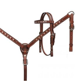 Showman ® Showman® Mini Size Medium leather headstall and breast collar set with crystal rhinestone studs.