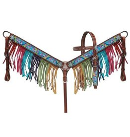 "Showman ® Showman ® PONY SIZE  "" Rainbow Pony"" headstall and breast collar set."