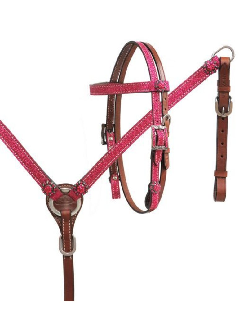 "Showman ® Showman ® Mini Size Glitter overlay leather headstall and breast collar set with crystal rhinestone studded hardware. Headstall comes with  3/4"" x 5' leather split reins."