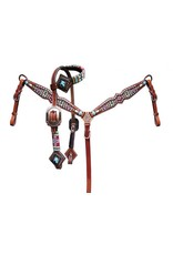 Showman ® Showman ® Pony Size beaded navajo cross print headstall and breast collar set.