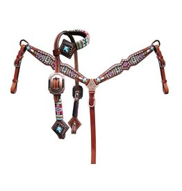 Showman ® Showman ® Pony Size beaded navajo cross print headstall and breast collar set.