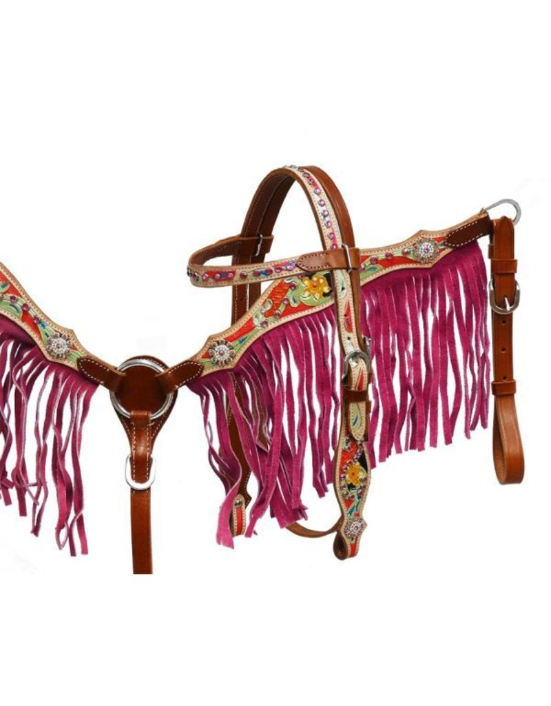 Showman ® Showman ® Pony/Small Horse size pink fringe headstall and breast collar set.