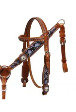 Showman ®  Showman ® Pony/Small horse size hand painted purple headstall and breast collar set