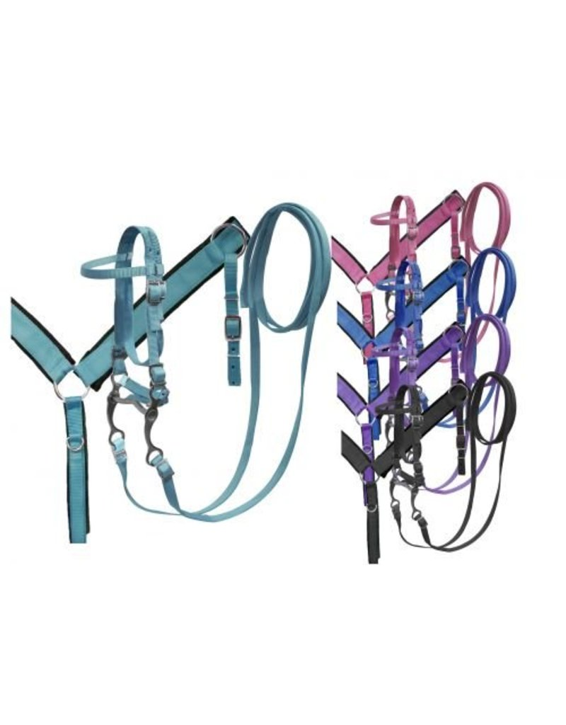Showman ®  Showman ® PONY SIZE Nylon headstall and breast collar set with grazing bit
