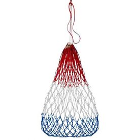 "Red, white and blue  22"" W x 36"" H Slow feed hay net. This bag features knotted nylon rope with a drawstring opening."