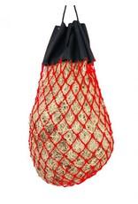 Easy-fill slow feed nylon hay bag with drawstring top closure.