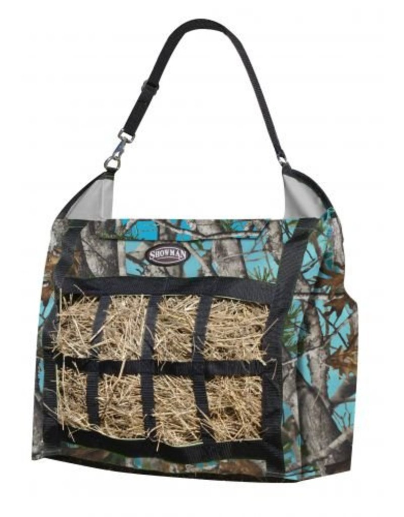 Showman ®  Showman ® Real Oak nylon slow feed hay tote. Durable heavy duty nylon hay tote is easy to fill and carry.