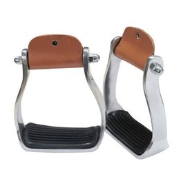 "Showman ® Showman ® Polished aluminum stirrup with rubber tread. 3"" neck, 4.75"" wide and 2"" tread"