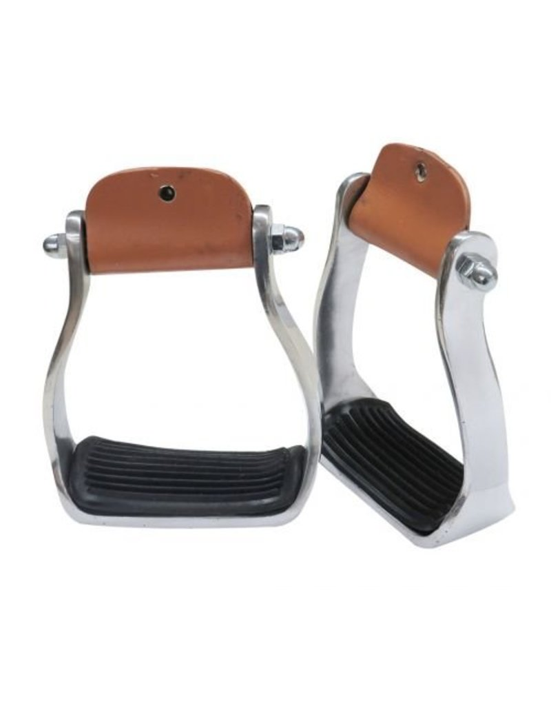 """Showman ® Showman ® Polished aluminum stirrup with rubber tread. 3"""" neck, 4.75"""" wide and 2"""" tread"""