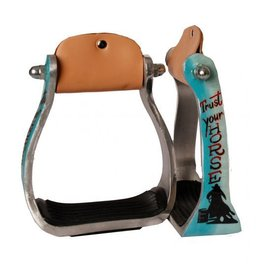 "Showman ® Showman ® ""Trust Your Horse"" barrel racer print stirrup. This stirrup featuers lightweight aluminum with a rubber grip tread bottom."