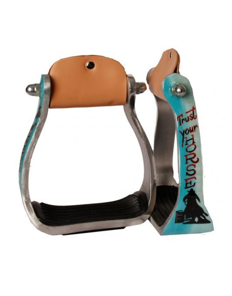 "Showman ® Showman ® ""Trust Your Horse"" barrel racer print stirrup. This stirrup featuers lightweight aluminum with a rubber grip tread bottom."