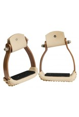 Showman ®  Showman Angled Copper Colored Aluminum Stirrups. Lightweight design. Smooth Light colored Leather with Rubber Grip Tread