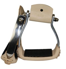 "Showman ® Showman™ lightweight angled aluminum stirrups with rubber grip tread.  Features 3"" neck, 2 1/4"" tread and stirrups are 5"" wide. Made by Showman™ products."