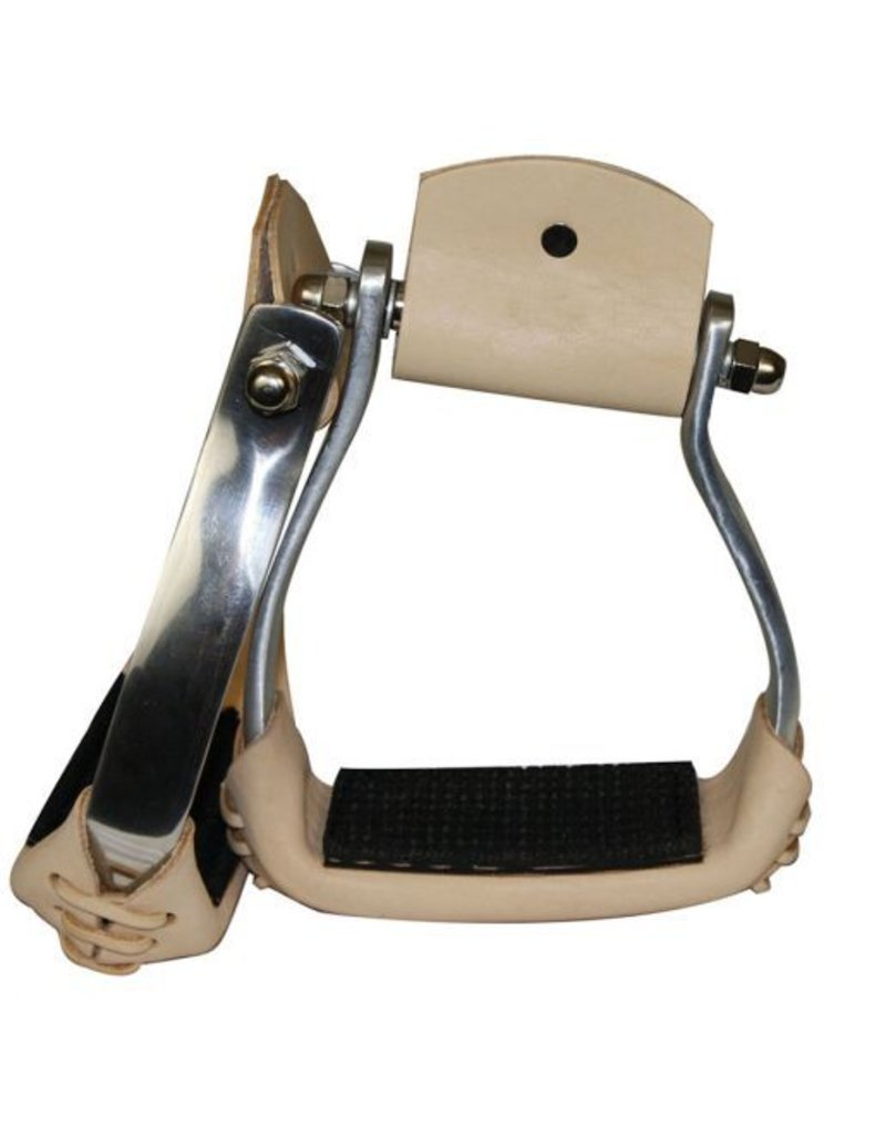 """Showman ® Showman™ lightweight angled aluminum stirrups with rubber grip tread.  Features 3"""" neck, 2 1/4"""" tread and stirrups are 5"""" wide. Made by Showman™ products."""