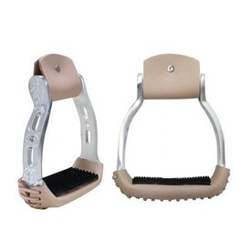 "Showman ® Light weight polished aluminum stirrups with engraved and cut out design. 2.25"" rubber tread, 3"" neck and 5"" wide."