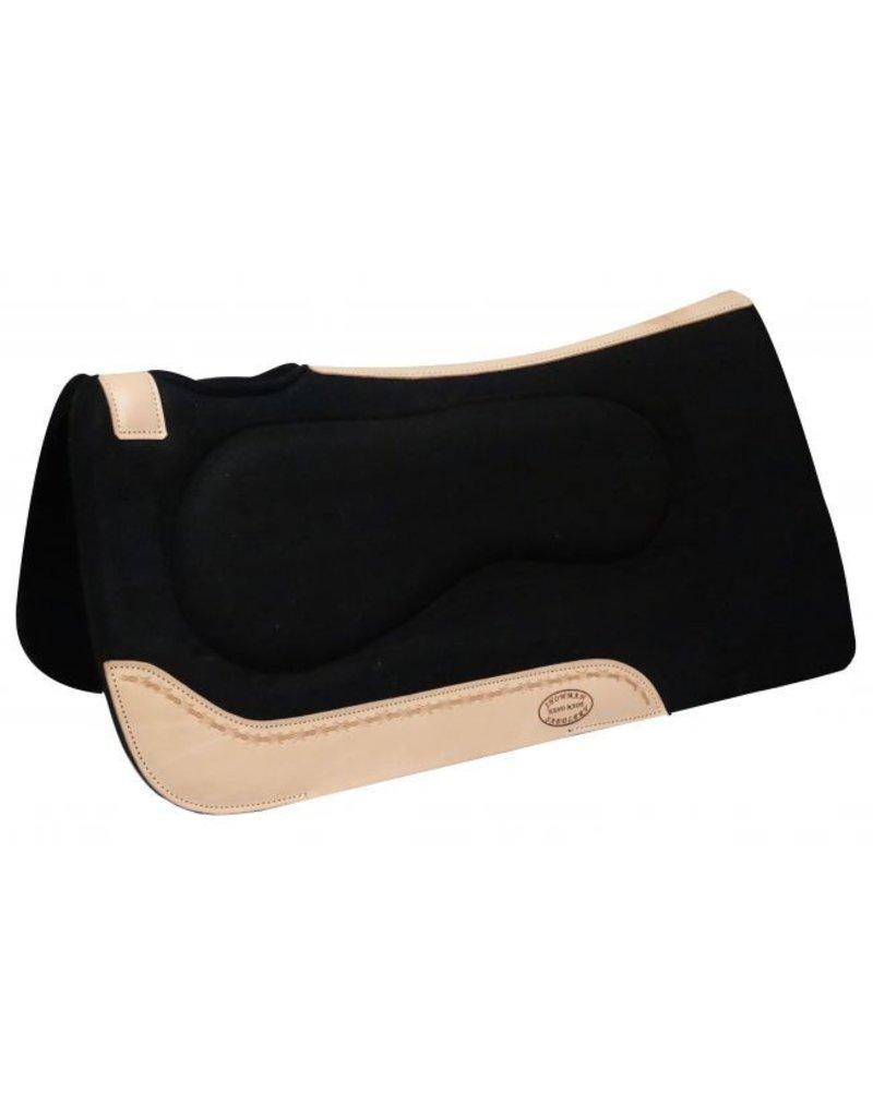 """Showman ®    Showman ® 32"""" x 31"""" Black felt built up pad with Argentina cow leather trim."""