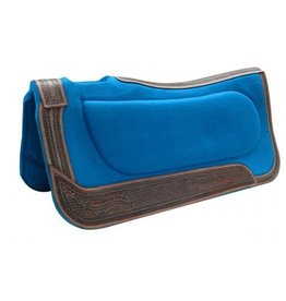 "Showman ® Showman ® 32"" x 32"" Teal felt built-up pad with basket tooled trim."