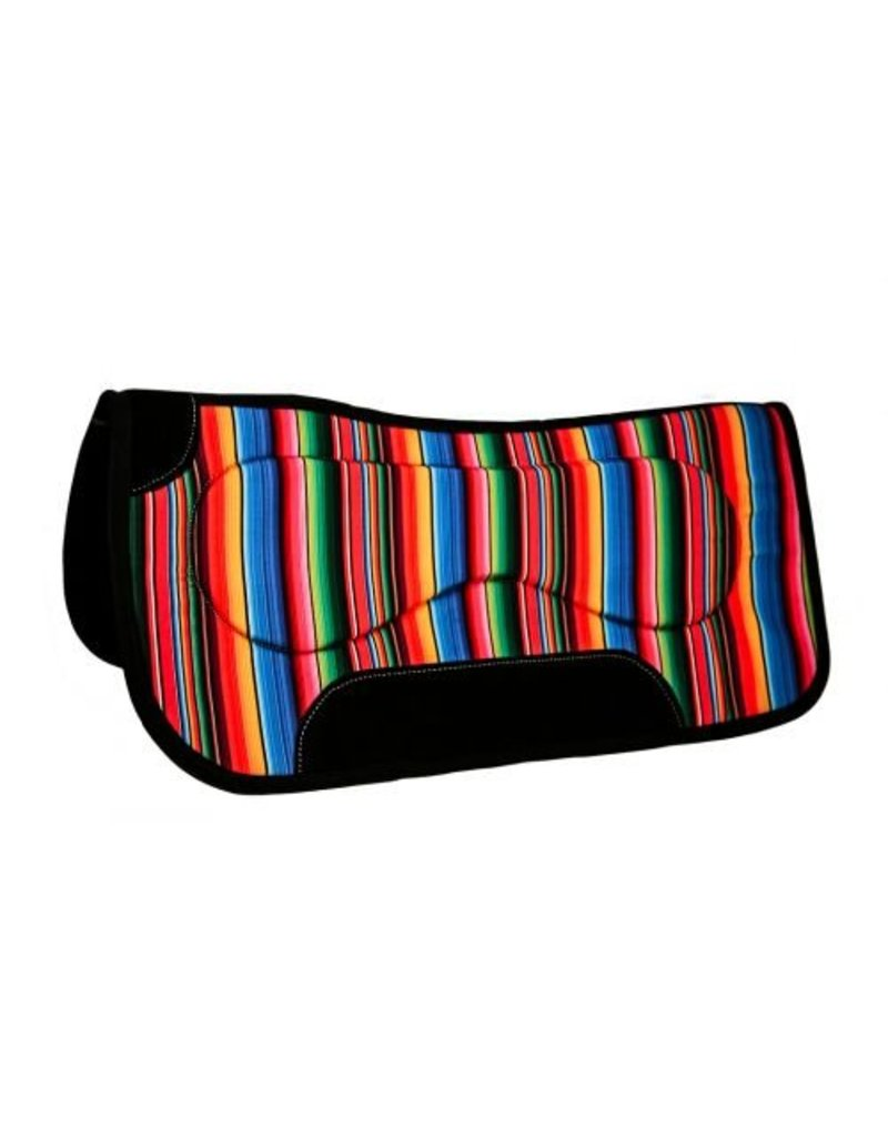 "Showman ® Showman ® 31"" x 32"" x 18mm wool/felt saddle pad with multi-color serape pattern."