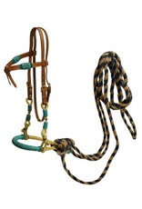 Showman ® Showman ® leather futurity knot headstall with teal rawhide braided bosal and horse hair mecate reins.