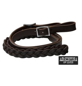 "Showman ® Showman ® 7 ft Argentina cow leather contest reins. 1"" x 7 ft Argentina cow leather."