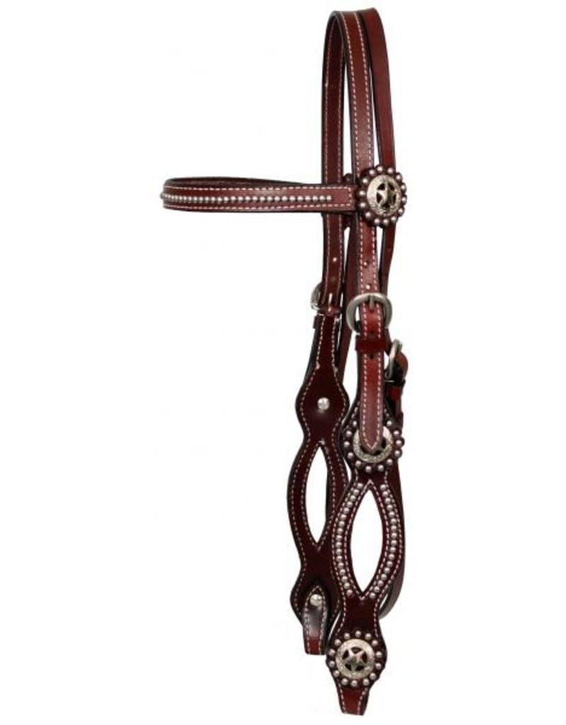 Showman ® Showman™ Leather browband headstall and reins with Texas star conchos and split cheeks in Burgundy