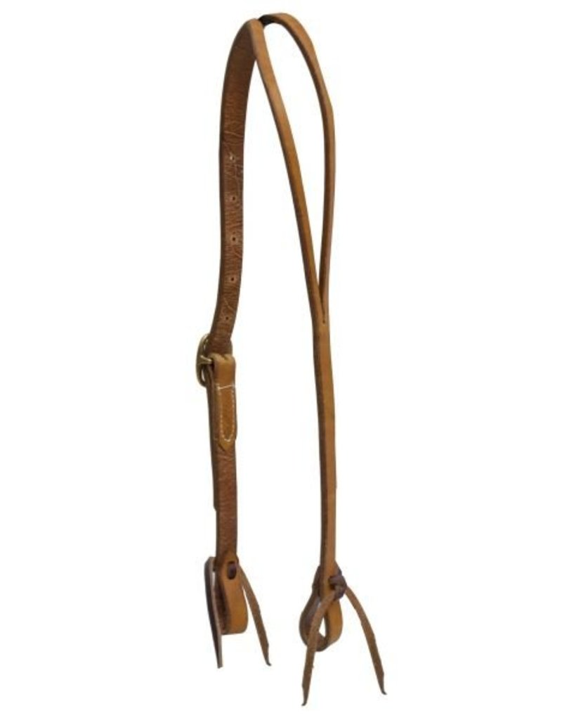 Showman ® Showman ® Argentina cow leather split ear headstall with solid brass buckle and leather tie bit loops.