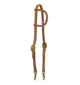Showman ® Showman ® Argentina cow leather one ear headstall with solid brass buckles and bit snaps.