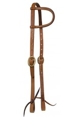 Showman ® Showman ® Argentina cow leather one ear headstall with solid brass buckles and tie bit loops.