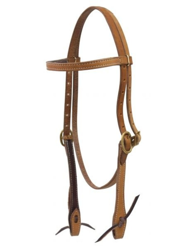Showman ®   Showman ® Argentina cow leather headstall with solid brass buckles leather tie bit loops.
