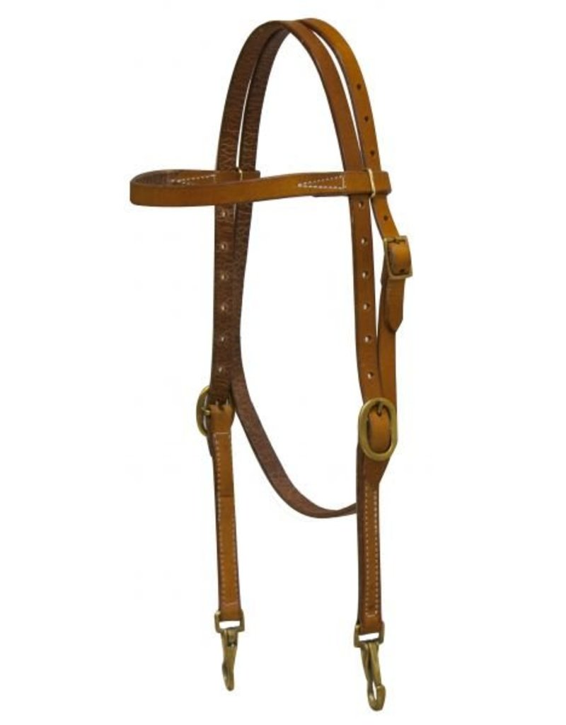 Showman ®  Showman ® Argentina cow leather headstall with solid brass buckles and bit snaps.