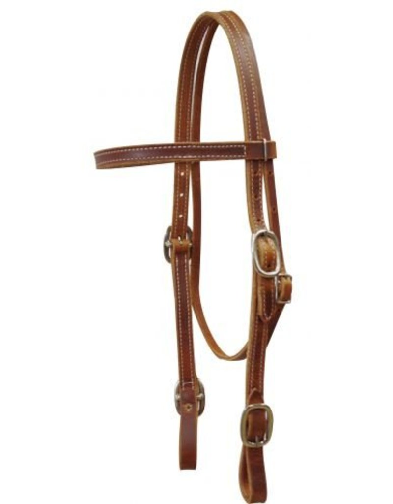 Showman ®   American Made Harness Leather Headstall. This headstall features double stitched harness leather with nickel plated buckles with buckle style bit loops.