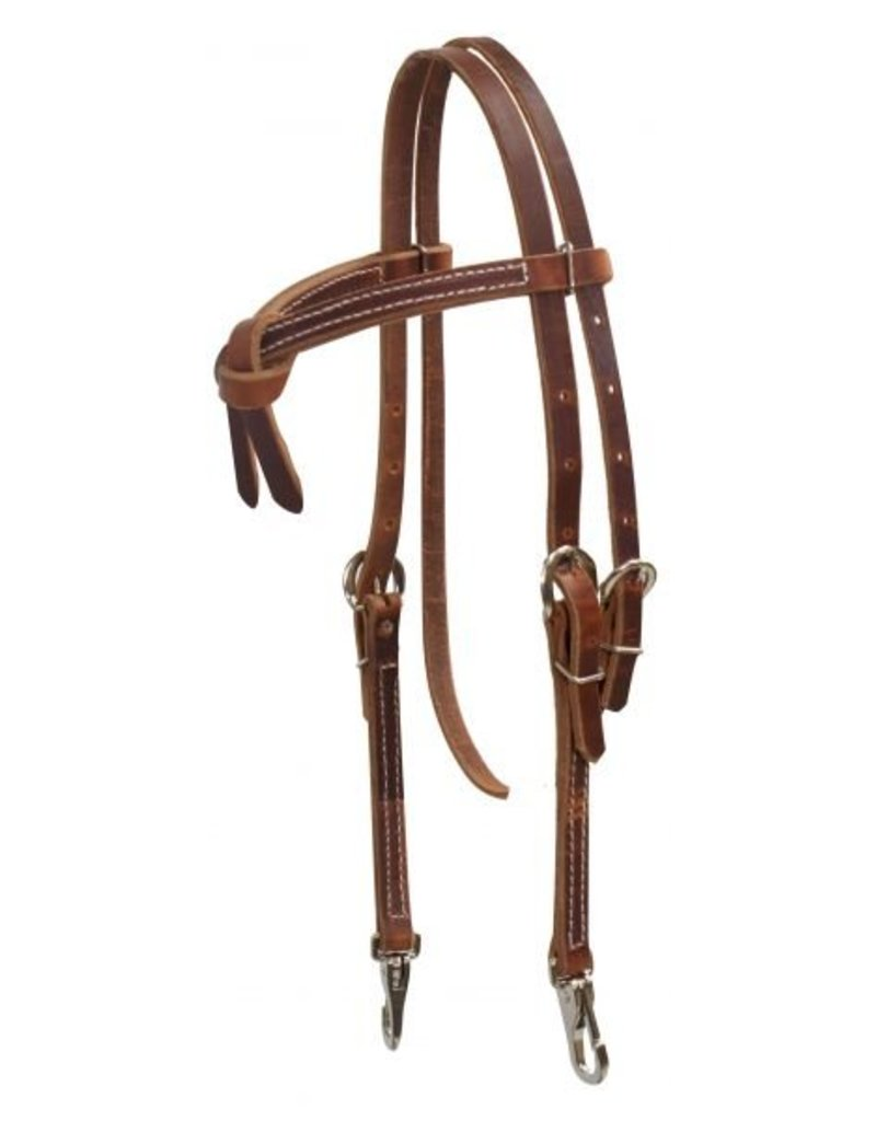 Showman ® Furturity knot harness leather headstall with snaps.  Made in USA.
