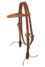 Showman ® Browband harness leather headstall with ties.  Made in USA.
