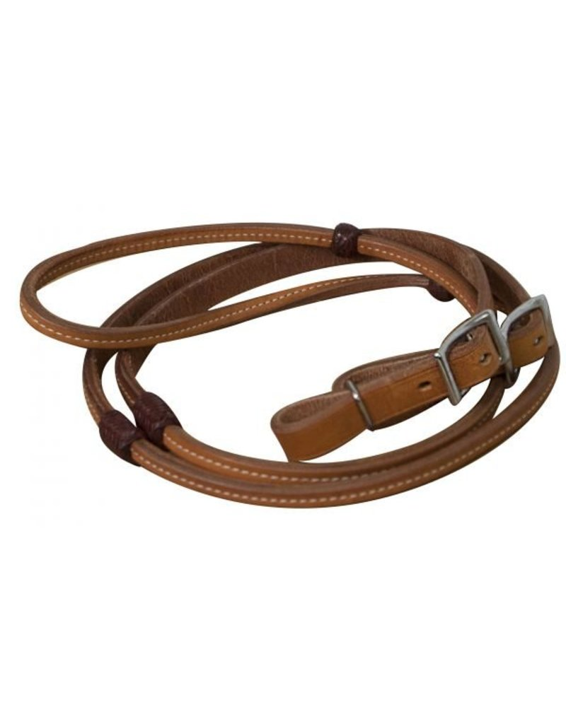 Showman ® Showman ® 8ft Argentina cow leather reins with burgundy braided rawhide accents and Conway buckles.