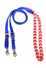 "Showman ® Showman ® Premium braided Red, White, and Blue nylon contest reins. 3/4"" x 96"" flat nylon contest rein with red, white, and blue braided center with scissor snap ends."