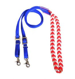 Showman ® Showman ® Premium braided Red, White, and Blue nylon contest reins.