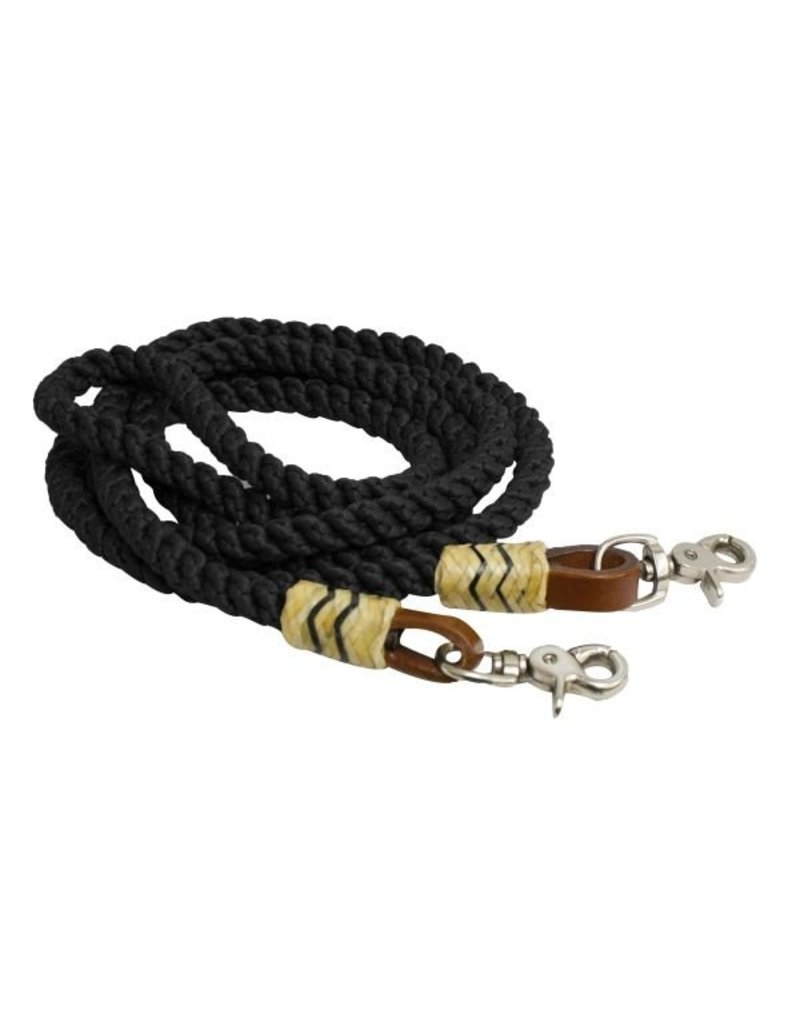 Showman ®   Showman ® 8FT rolled nylon barrel reins.  These nylon reins features braided and rolled nylon with rawhide braided accents. Easily attach to bit with scissor snap ends.