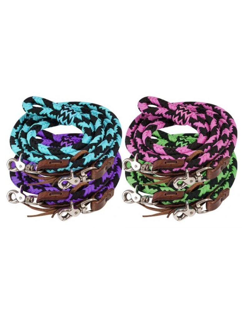 Showman ® Showman ® 8ft braided nylon barrel reins with scissor snap ends.