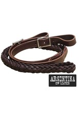 "Showman ® Showman ® 7.5 ft Argentina cow leather contest reins. 1"" x 7.5ft. Argentina cow leather reins feature a 5 strand braided center with thick straight leather ends and hook loop ends. Semi adjustable on bit loops with punched holes."