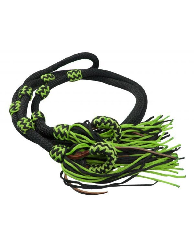 Showman ®  Showman ® 8ft Fringe braided barrel reins. These reins feature soft round braided nylon with two-tone braided nylon stoppers. Leather bit loops feature two-tone braided nylon overlay and nylon fringe.