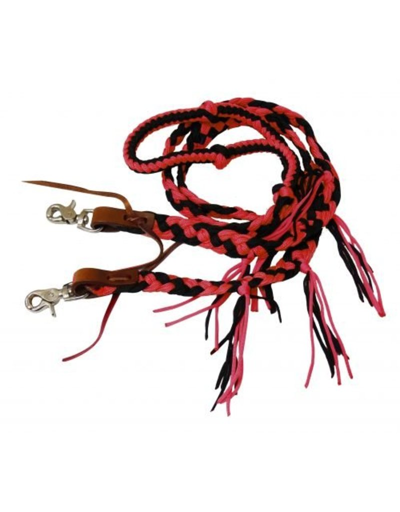Showman ® Showman ® 8 ft braided nylon reins with tassels. These reins feature easy grip knots on a round braided center and a flat end with nylon tassels. Easily attach with scissor snap ends.