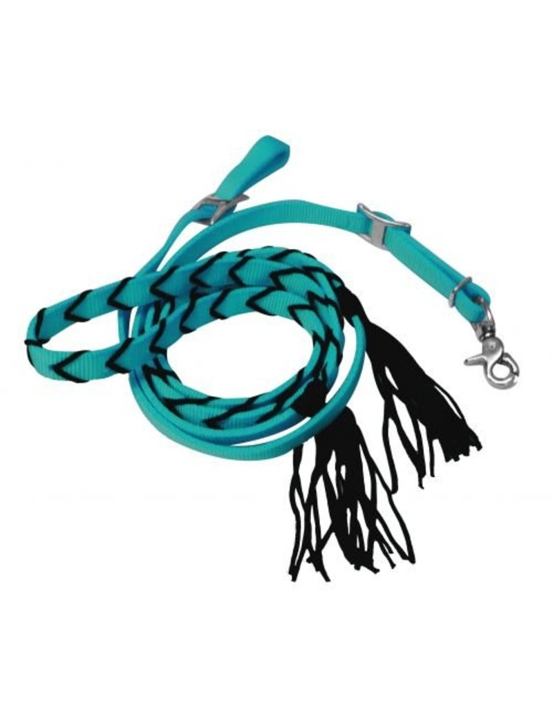 """Showman ®  Showman ® 5/8"""" x 8ft nylon contest rein with tassels. These reins feature webbed nylon with nylon tassels. Conway buckles and a single scissor snap."""