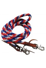 "Showman ®    Showman ® 96"" Red, white and blue braided nylon barrel style reins with scissor snap ends."