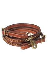 "Showman ® Showman ® 1/2"" x 8ft Argentina cow leather brass studded contest rein. These reins feature medium leather with brass colored studs and hardware."