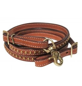 "Showman ® Showman ® 1/2"" x 8ft Argentina cow leather brass studded contest rein."