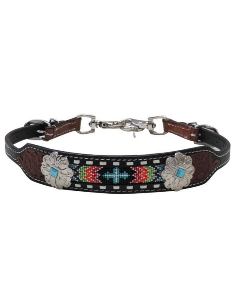 Showman ® Showman ® Navajo beaded inlay wither strap.