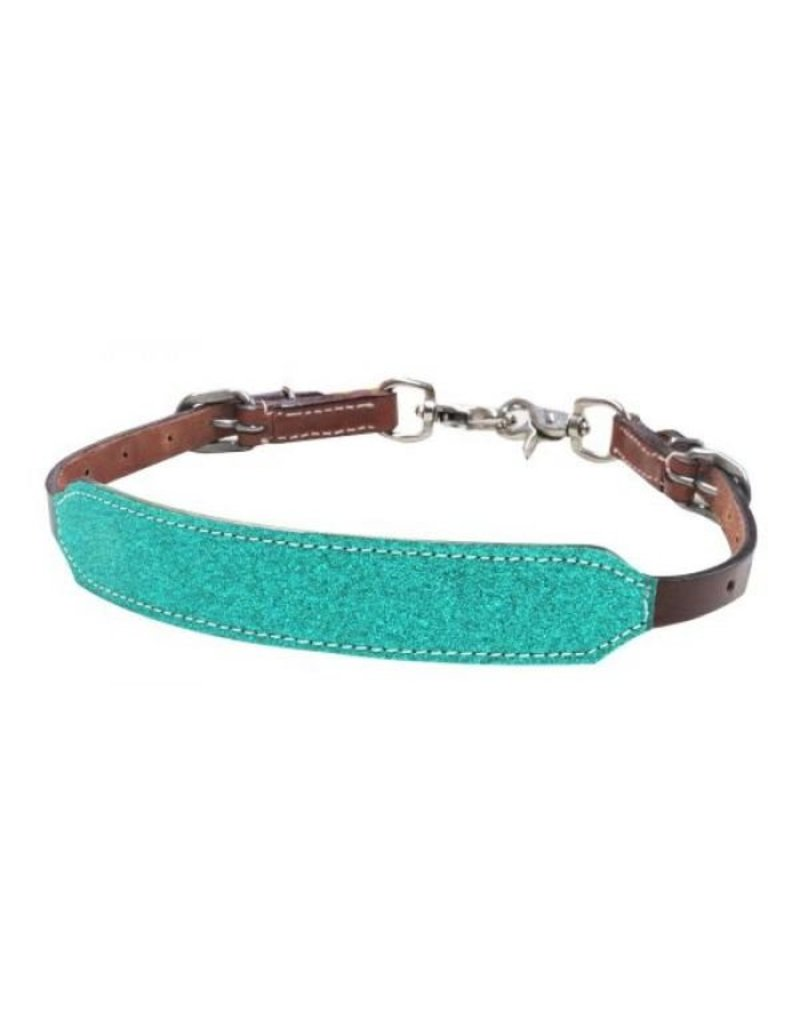 Showman ® Showman ® Pony Size Glitter overlay leather wither strap.