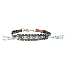 Showman ® Showman ® Teal and brown Navajo print wither strap.